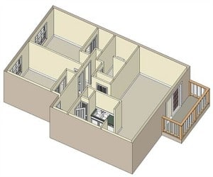 2 Bed, 1 Bath  870 sq ft $925 per month