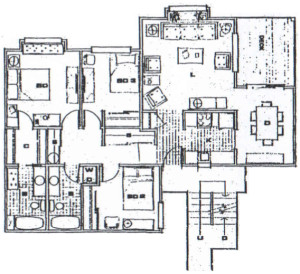 3 Bedroom / 1,110 sq ft